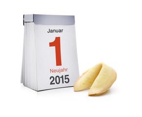 Kalender mit Neujahr und Glückskeks