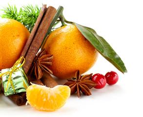 Christmas composition with fresh mandarin oranges