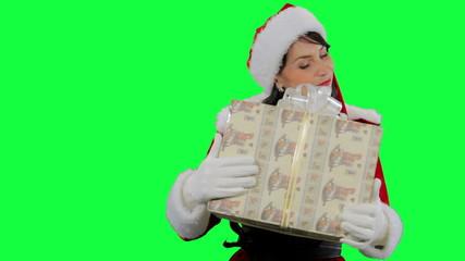 Santa helper girl returns a gift