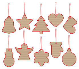 Set 10 Christmas Hangtags Brown Paper Red
