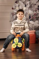 Boy with New Year presentsv