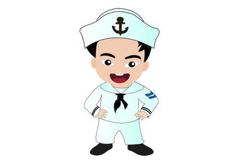 Cute cartoon illustration of a sailor