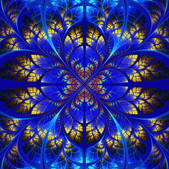 Symmetrical fractal pattern. Collection - tree foliage. Blue and