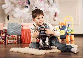 Boy with New Year presents