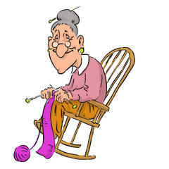 Nice elderly Grandma in rocking chair.