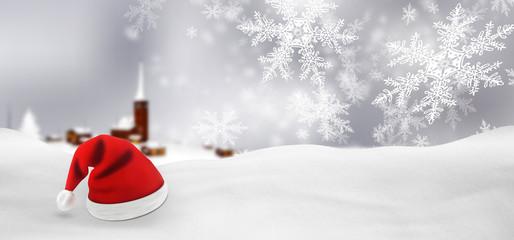 Weihnachtskarte, Schneelandschaft, Weihnachtsmann, Mütze, Winter