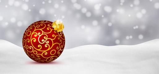 Weihnachtskarte, Schneelandschaft, Weihnachtskugel, Silbergrau