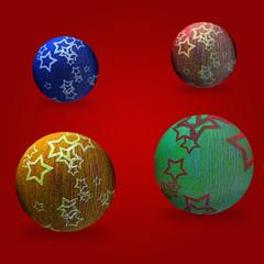 Sfondo rosso con 4 palle di Natale gialla, verde, blu, rossa.