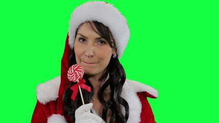 Santa helper girl with Christmas candy