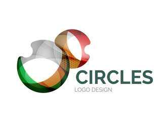 Abstract bubbles logo design made of color pieces