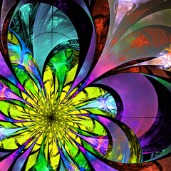 Flower background. Blue, purple and yellow palette. Fractal desi
