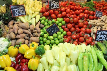 Vegetable market in Great Market Hall, Budapest