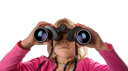 Girl with Binoculars Looking at Camera