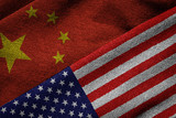 Flags of China and USA on Grunge Texture - 73051133