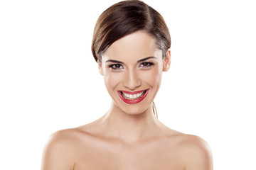 young beautiful woman with a wide teeth smile
