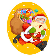 Santa Claus with bag for Christmas gift