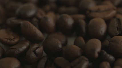 Roasted coffee beans. Close-up.
