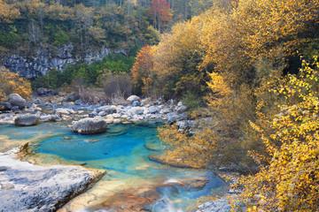 Anisclo canyon in autumn, Huesca, Spain