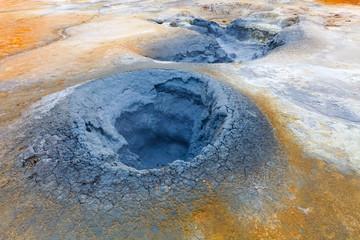 Mud pots in the geothermal area Hverir, Iceland