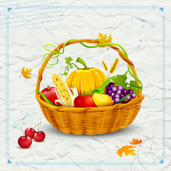 Fruits and vegetable in basket  for Thanksgiving