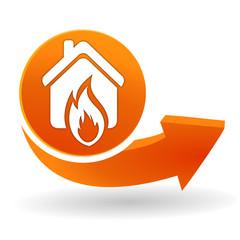 détection incendie sur bouton web orange