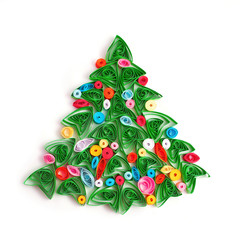Paper Christmas tree, hand made quilling.