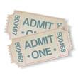 pair of retro cinema tickets
