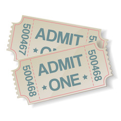 pair of retro cinema tickets