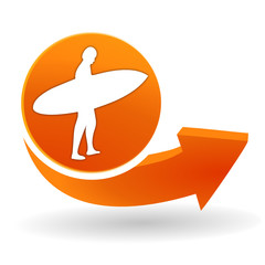 surf sur bouton web orange