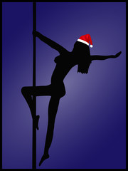 Framed Femal Pole Dancer with a Santa Hat