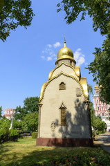 view of the small church on the territory of the Novodevichy Con