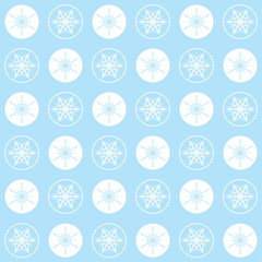 Christmas seamless pattern snowflakes. Blue white pastel colors