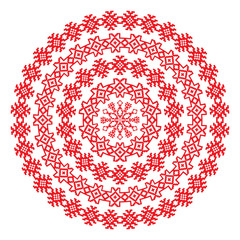 Nordic ethnic border round pattern in red color