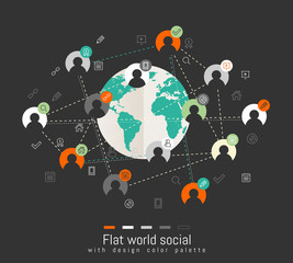 Flat design concept with world map and social network concept