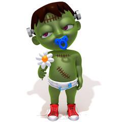 Baby Jake Frankenstein with flower