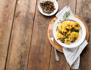 Tortellini with grilled mushrooms and onions