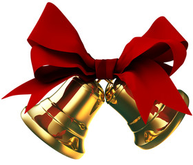 golden bells with red bow