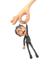 3d business man pinched by two fingers of the hand