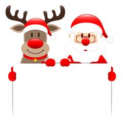 Rudolph & Santa Holding Label