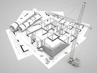 Baustelle auf Plan mit Baugerüst