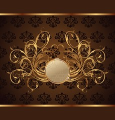 gold invitation frame or packing for elegant design