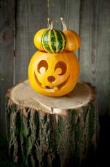 Halloween pumpkin on a wooden stump.
