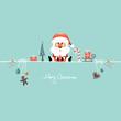Card Santa & Symbols Candy Cane Retro