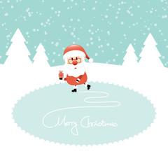 Santa Gift Ice Skating Lake Retro