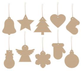 Set 10 Christmas Hangtags Brown Paper