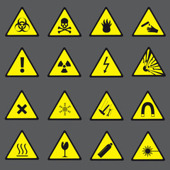 yellow and black danger and warning signs set eps10