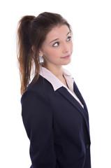 Weiblicher Teenager isoliert denkt nach und hat Zweifel