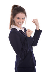 Erfolgreiche junge Frau isoliert: Ausdruck Freude und Erfolg