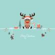 Card Reindeer & Symbols Candy Cane Retro