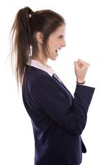 Stolze und erfolgreiche junge Frau in Beruf und Karriere